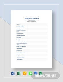 Business Term Sheet Template