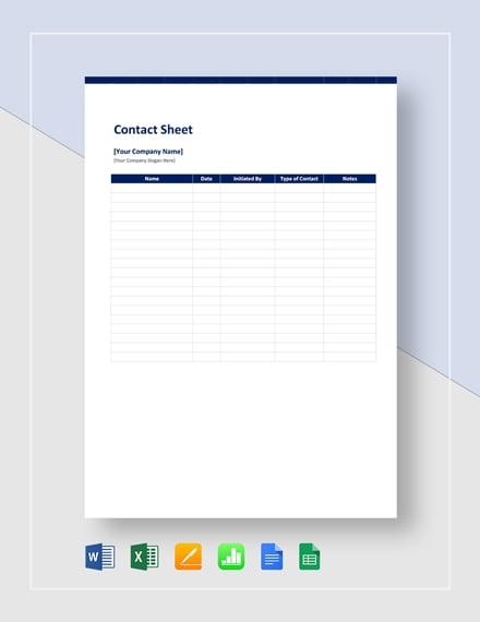 Contact Sheet Template
