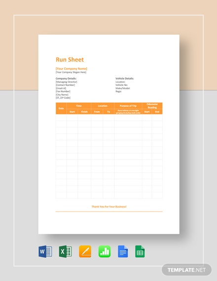 Free Event Run Sheet Template Pdf Word Excel