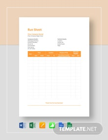 Run Sheet Template