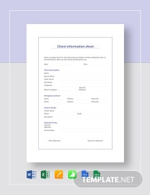 Client Information Sheet Template