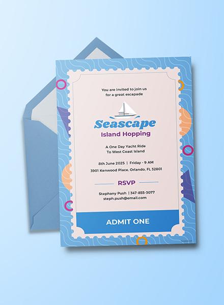 Free Seascape Ticket Invitation Template