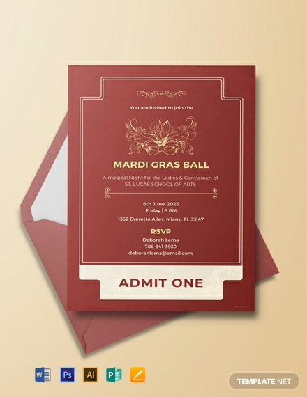 Free Mardi Gras Style Ticket Invitation Template