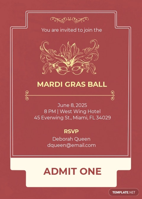 Mardi Gras Style Ticket Invitation Template