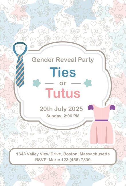 Free Ties and Tutus invitation Template