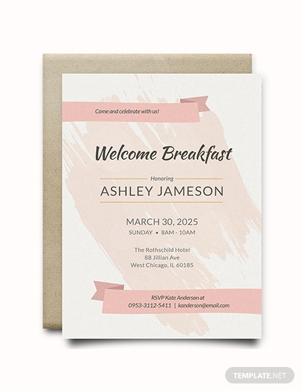 free welcome breakfast rsvp invitation template download 344