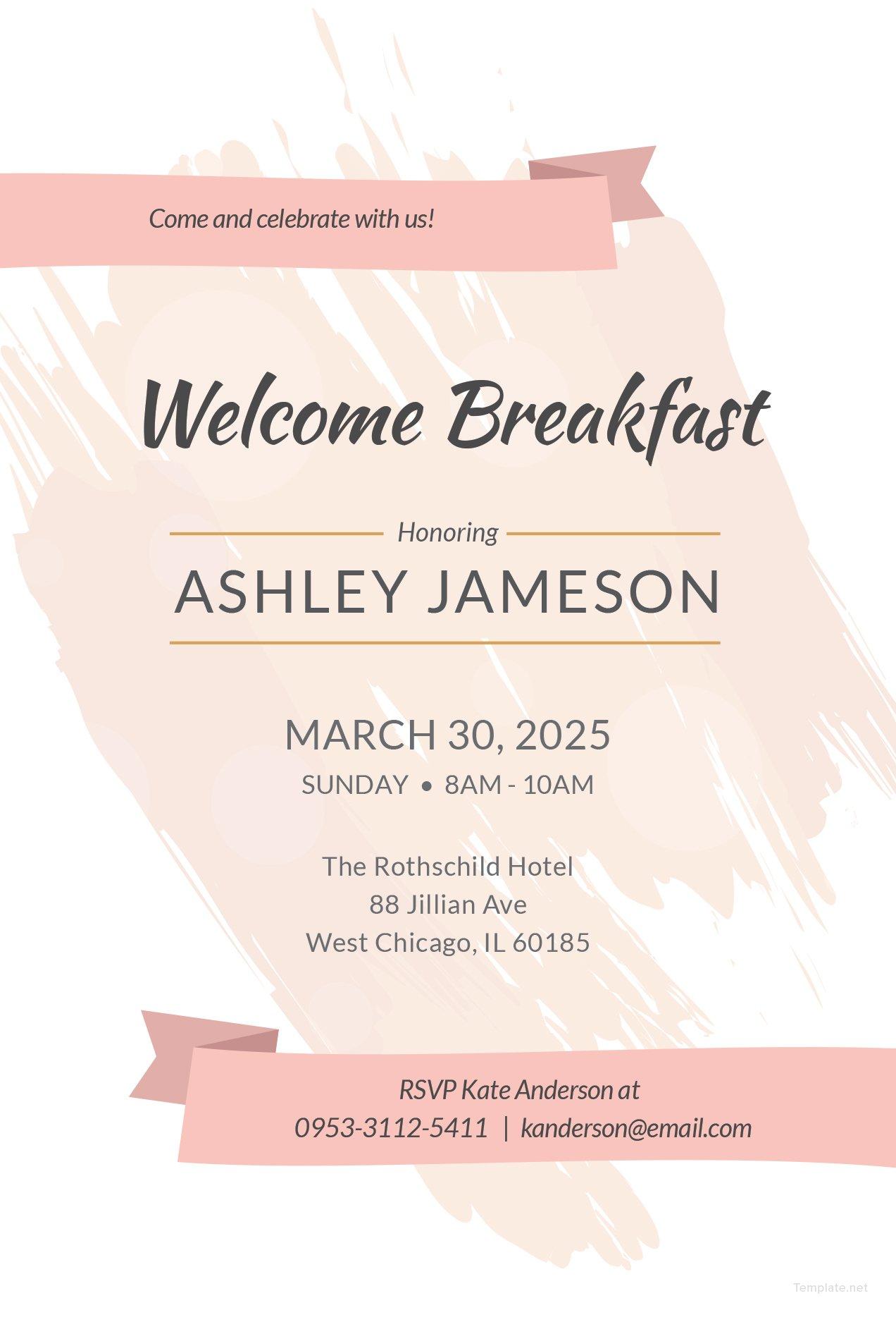 free welcome breakfast invitation template in adobe illustrator