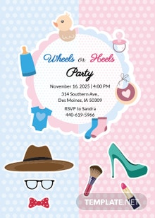 Free Wheels and Heels Invitation Template