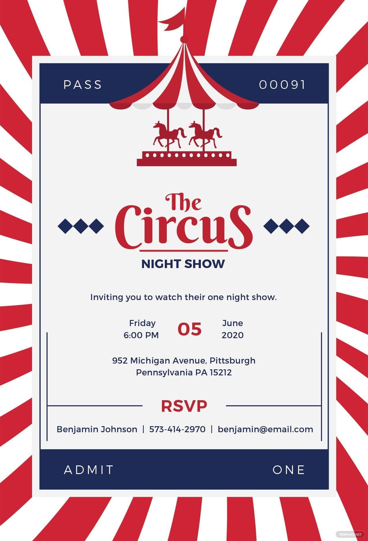 free circus invitation template in adobe photoshop