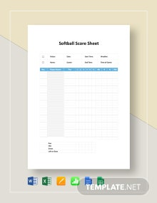 Softball Score Sheet Template