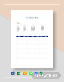 Farkle Score Sheet Template