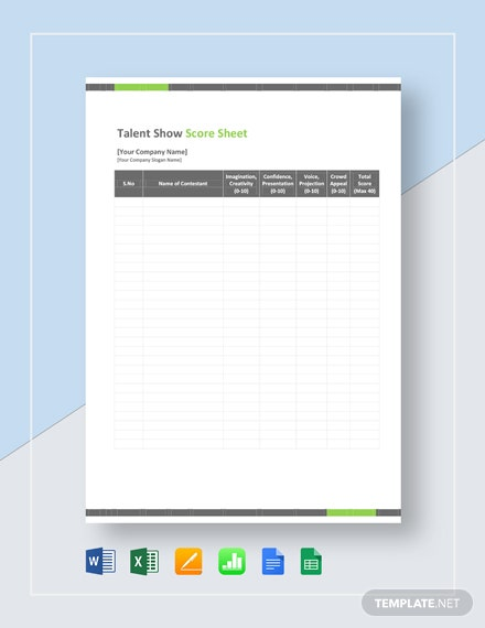 Talent Show Score Sheet Template