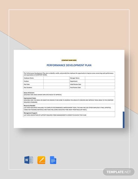 Free Performance Development Plan Template