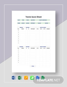 Tennis Score Sheet Template