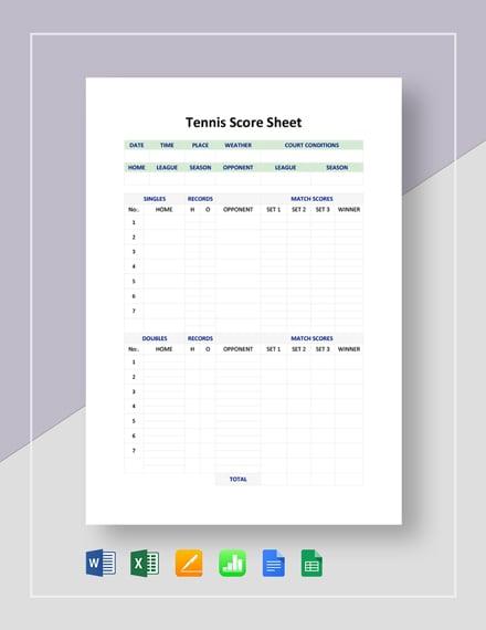 Tennis Score Sheet Template