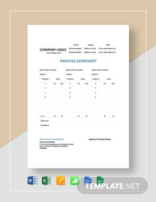 Sample Pinochle Score Sheet Template