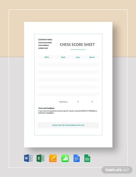 Chess Score Sheet Template