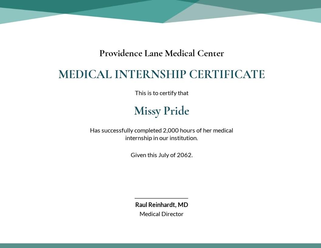 Medical Internship Certificate Template