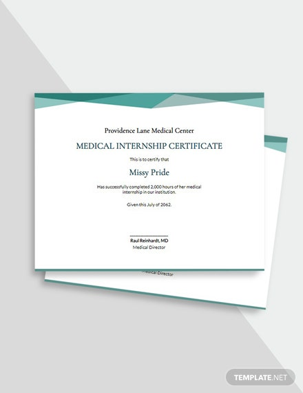 Medical Internship Certificate Template