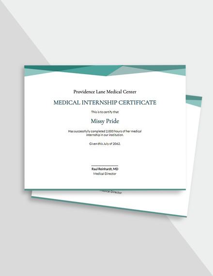 Free Medical Internship Certificate Template