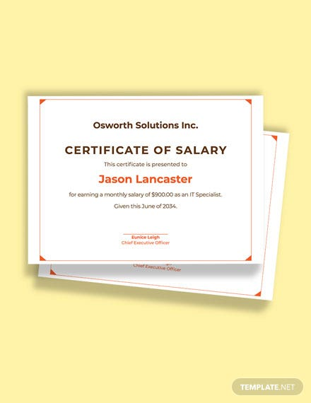 Free Monthly Salary Certificate Template