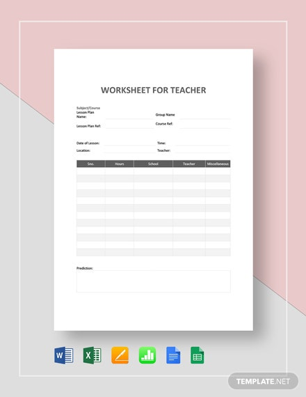 Worksheet  for Teacher Template