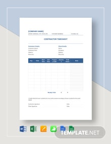 Sample Contractor Timesheet Template