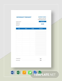 Internship Timesheet Template