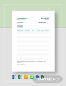 Sample Volunteer Timesheet Template