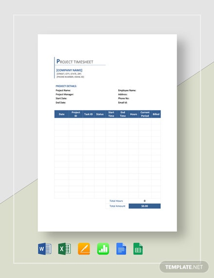 Sample Project Timesheet Template