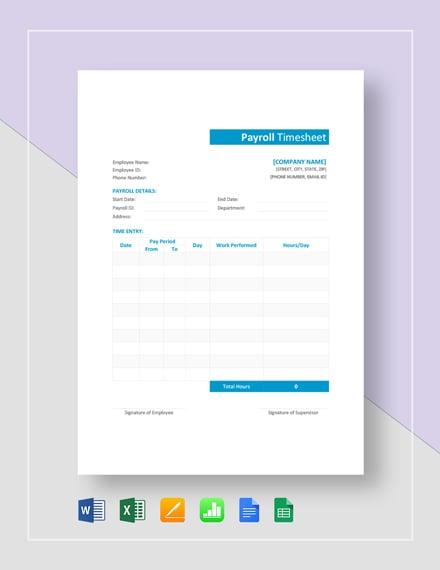 Sample payroll timesheet