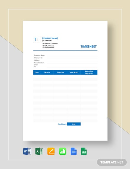 Sample Blank Timesheet Template