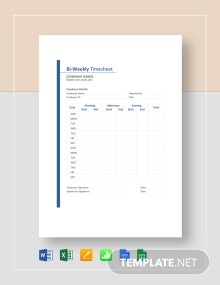 Sample Biweekly Timesheet Template