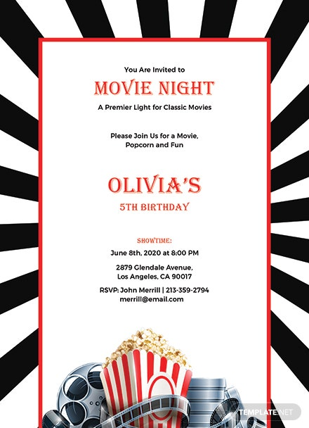 free movie night invitation template in adobe photoshop