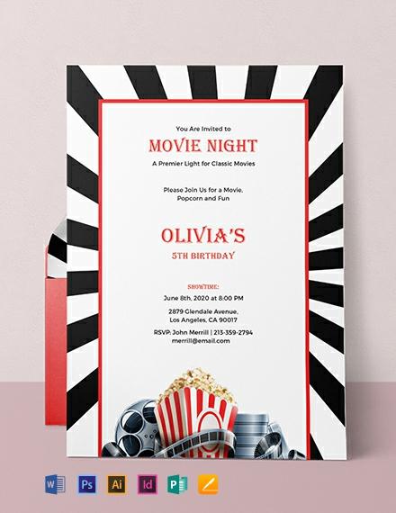 Free Movie Night Invitation Template Word Psd Indesign
