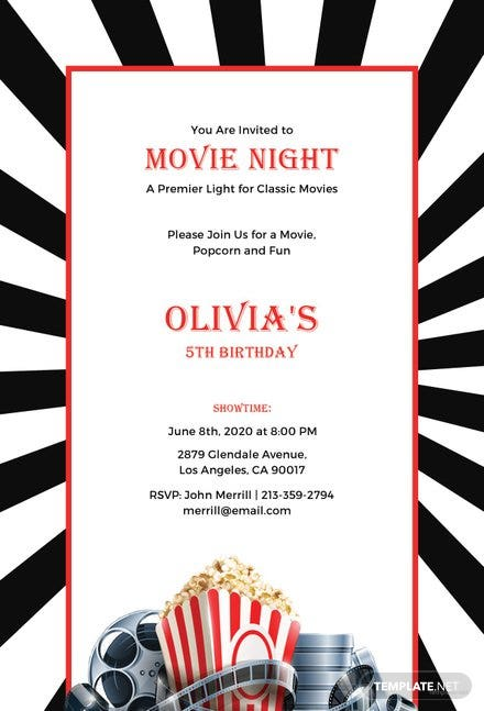 Free Movie Night Invitation Template in Adobe Photoshop, Illustrator ...