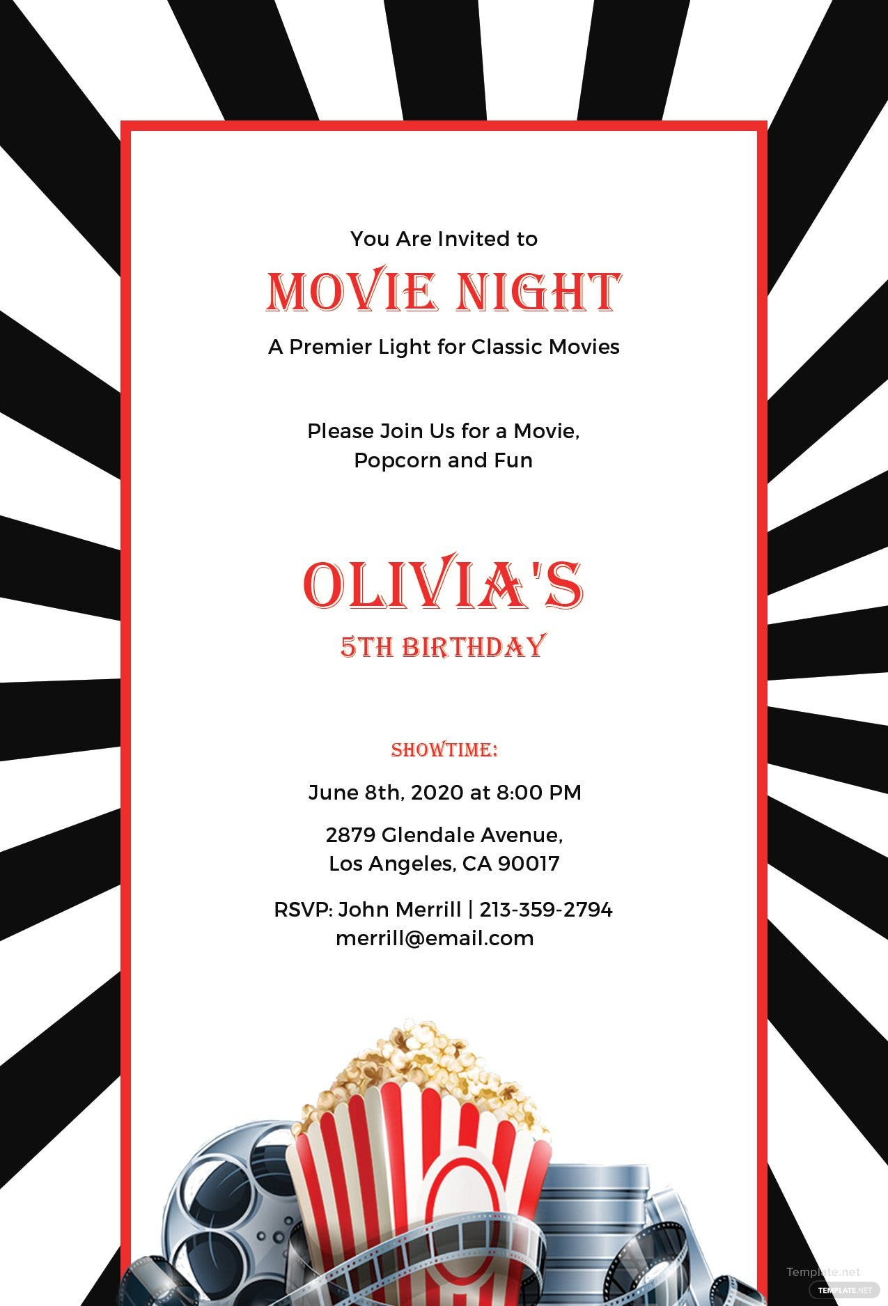 Free Movie Night Invitation Template in PSD, MS Word, Publisher ...