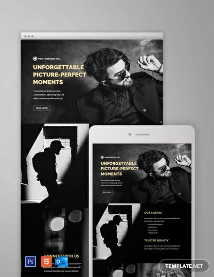 Free Photography Email Newsletter Template Psd Html5