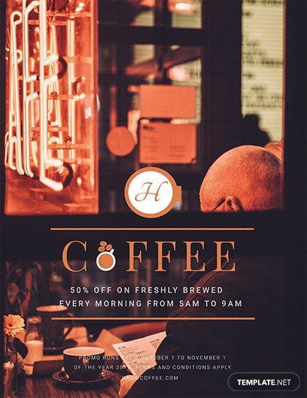 free coffee shop flyer template 1x
