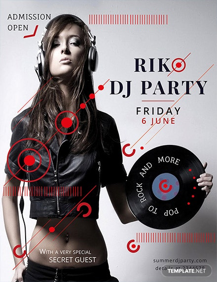 free dj party flyer template 1x