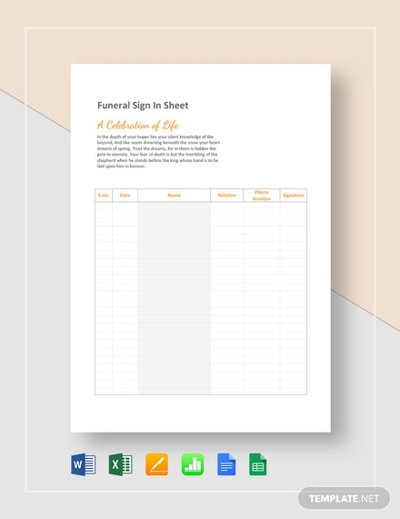 Funeral Sign in Sheet Template