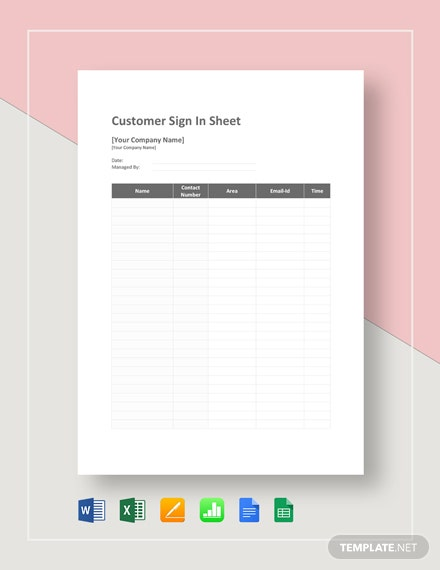 Customer Sign in Sheet Template