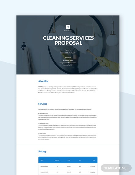 Editable Cleaning Proposal Template