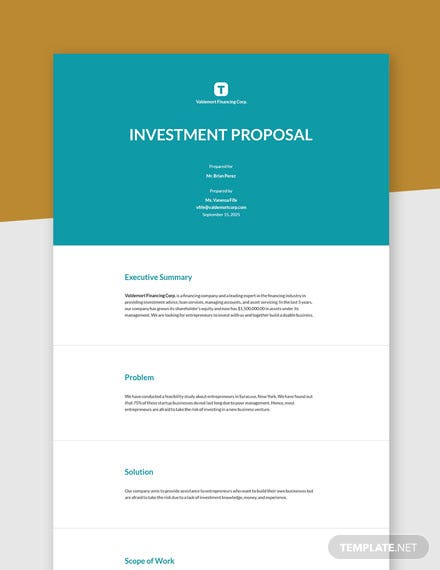 Editable Sample Investment Proposal Template