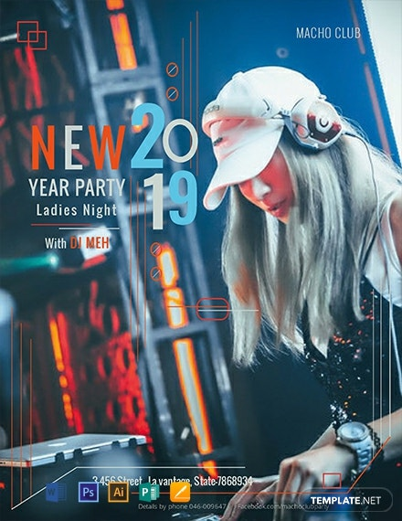 Free New Year Party Flyer Template