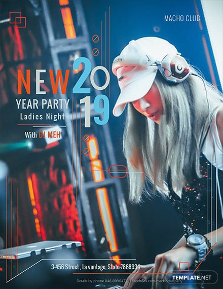 new year party flyer template 1x
