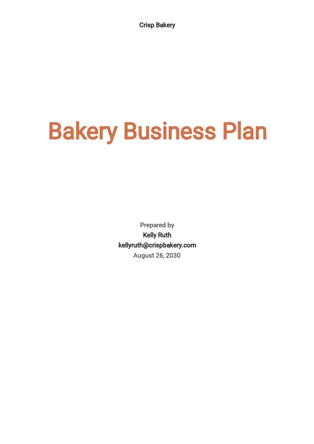 Bakery Business Plan Template