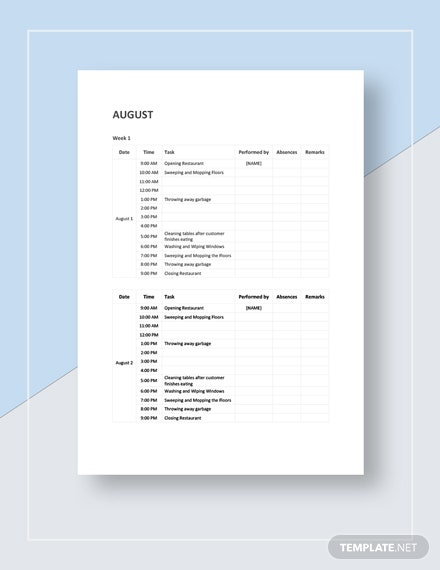 Weekly Restaurant Cleaning Schedule Template