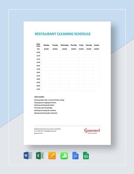 Weekly Restaurant Cleaning Schedule