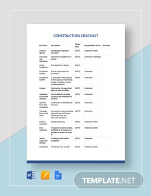 Construction Checklist Template